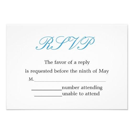 Simple and Elegant Wedding Reception RSVP Custom Invitations