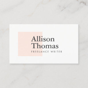 Freelance writer business cards zazzle simple and minimal blushpeach square modern business card colourmoves