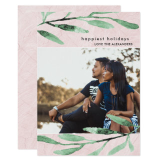 Simple and Modern Botanical Holiday Photo Card