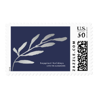 Simple and Modern Silver Botanical Holiday Postage