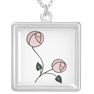 Simple and Pretty Pink Art Nouveau Roses Design Silver Plated Necklace