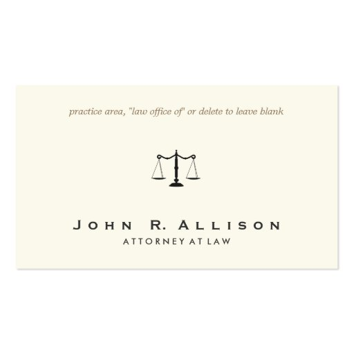 Simple and Sophisticated Attorney Ivory Business Card Template