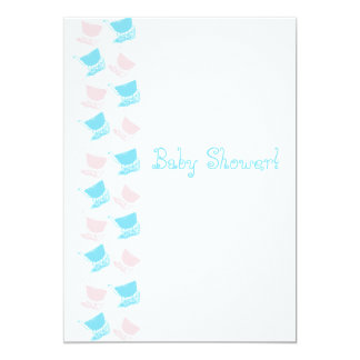 Simple and Sweet Blue and Pink Stylish Baby Buggy Card