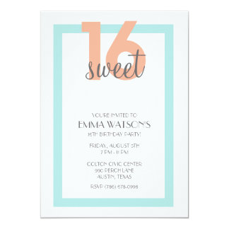 Simple and Sweet Sixteen Birthday Party Invitation