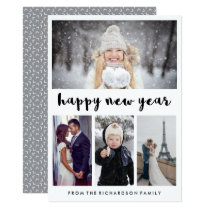 Simple and Trendy Four Photo Happy New Year Card
