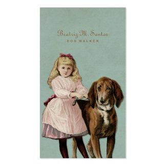 Simple animal fresco del chica lindo del perro del tarjetas de visita