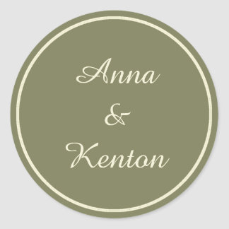 Simple Antique Gold Personalized Wedding Classic Round Sticker