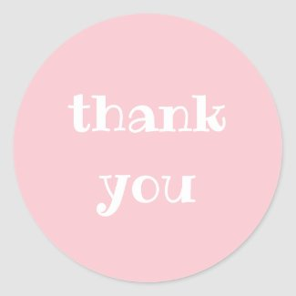 Simple Appreciation Pink & White Thank You Round Classic Round Sticker
