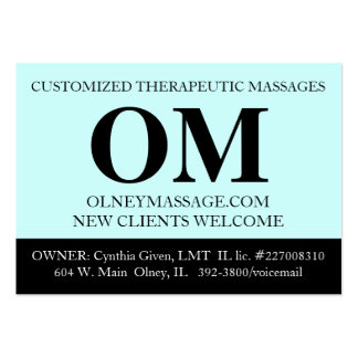 Simple Aqua, Black, and White Massage Therapy Card Large Business Cards (Pack Of 100)
