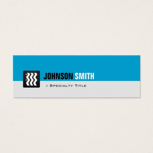 Simple Aqua Blue and White for Personal Individual Mini Business Card