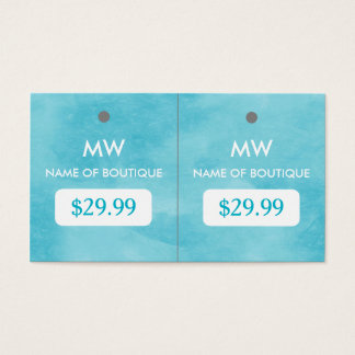Simple Aqua Blue Chic Boutique Monogram Hang Tags