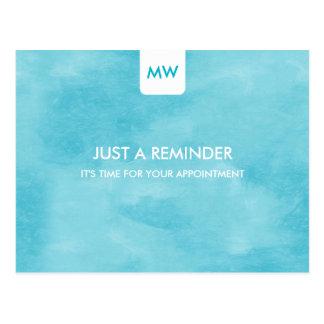 Simple Aqua Chic Appointment Reminder QR Code Postcard
