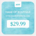 Simple Aqua Chic Boutique Monogram Price Tags Square Stickers