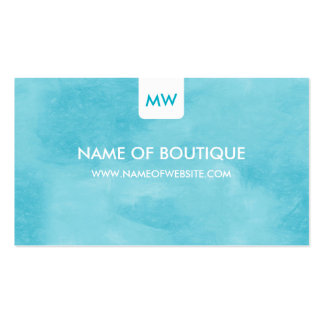 Simple Aqua Chic Boutique Monogram Social Media Double-Sided Standard Business Cards (Pack Of 100)