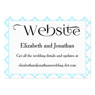 Simple Aquamarine Quatrefoil Wedding Website Card Pack Of Chubby Business Cards