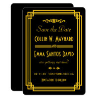 Simple Art Deco Black and Gold Save The Date Card