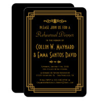Simple Art Deco Black Rehearsal Dinner Invites