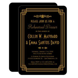 Simple Art Deco Black Rehearsal Dinner Invites