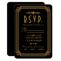 Simple Art Deco Black Wedding Response Cards