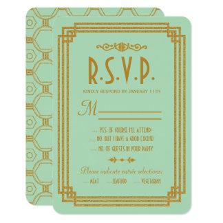 Simple Art Deco Mint Wedding Response Cards