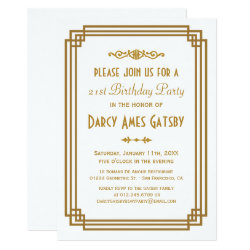 Simple Art Deco White Birthday Party Invites