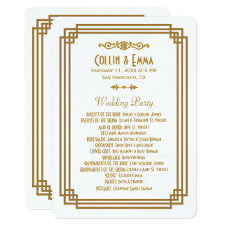 Simple Art Deco White Wedding Programs