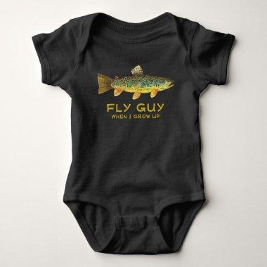 Simple Art of a Fly Fishing Reel Baby Bodysuit