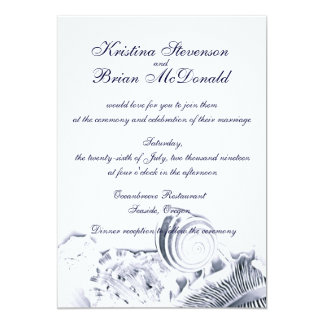 Simple Artistic Navy Blue Seashells Wedding Invite