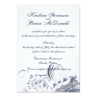 Simple Artistic Navy Blue Seashells Wedding Invite Custom Invitations