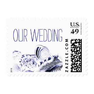 Simple Artistic Navy Blue Seashells Wedding Stamp