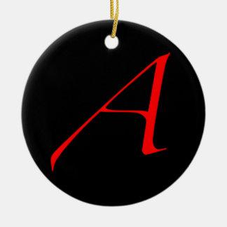 Simple ateo un rojo en el ornamento negro adorno navideño redondo de cerámica