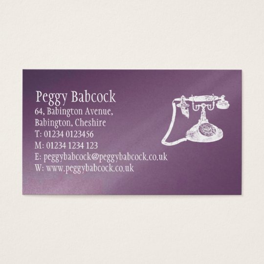 Simple Aubergine Purple with Phone Business Card