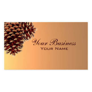 Simple autumn colored pine cone business cards