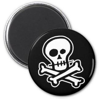 Simple B&W Skull & Crossbones 2 Inch Round Magnet