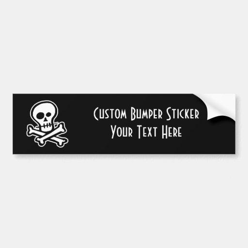 Simple B&W Skull & Crossbones Bumper Sticker