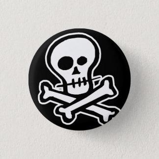 Simple B&W Skull & Crossbones Button