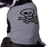 Simple B&W Skull & Crossbones Dog Tshirt