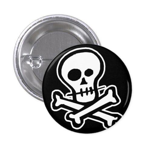 Simple B&W Skull & Crossbones Pins