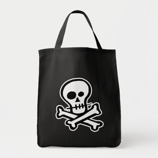 Simple B&W Skull & Crossbones Tote Bag
