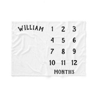 Simple Baby Milestone Monthly Baby Blanket