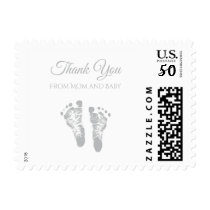 Simple Baby Shower Thank You Modern Gray Footprint Postage