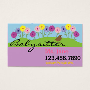 Nanny business cards templates zazzle simple babysitter nanny business card reheart Gallery