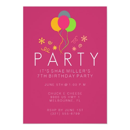 Girls 7th birthday party invitations announcements zazzle simple balloon pink girl39s 7th birthday invite stopboris Gallery