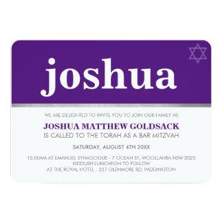 SIMPLE BAR MITZVAH cool modern name star purple Card