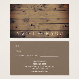 Simple Barn Wood | Rustic Gift Card Certificate