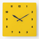 Simple Basic Clean Yellow with Numbers Wallclocks