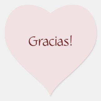 "Simple Basic ""Gracias!"" Text Design Heart Sticker"