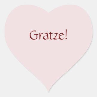 """Simple Basic """"Gratze!"""" Text Design Heart Sticker"""
