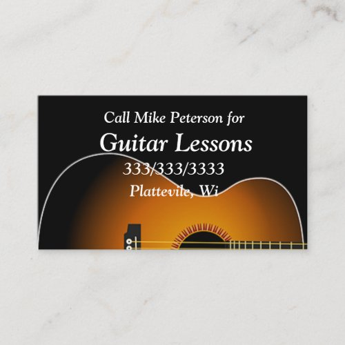 Simple Basic Guitar Lessons Business Card
