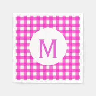 Simple Basic Hot Pink Gingham Monogram Napkin